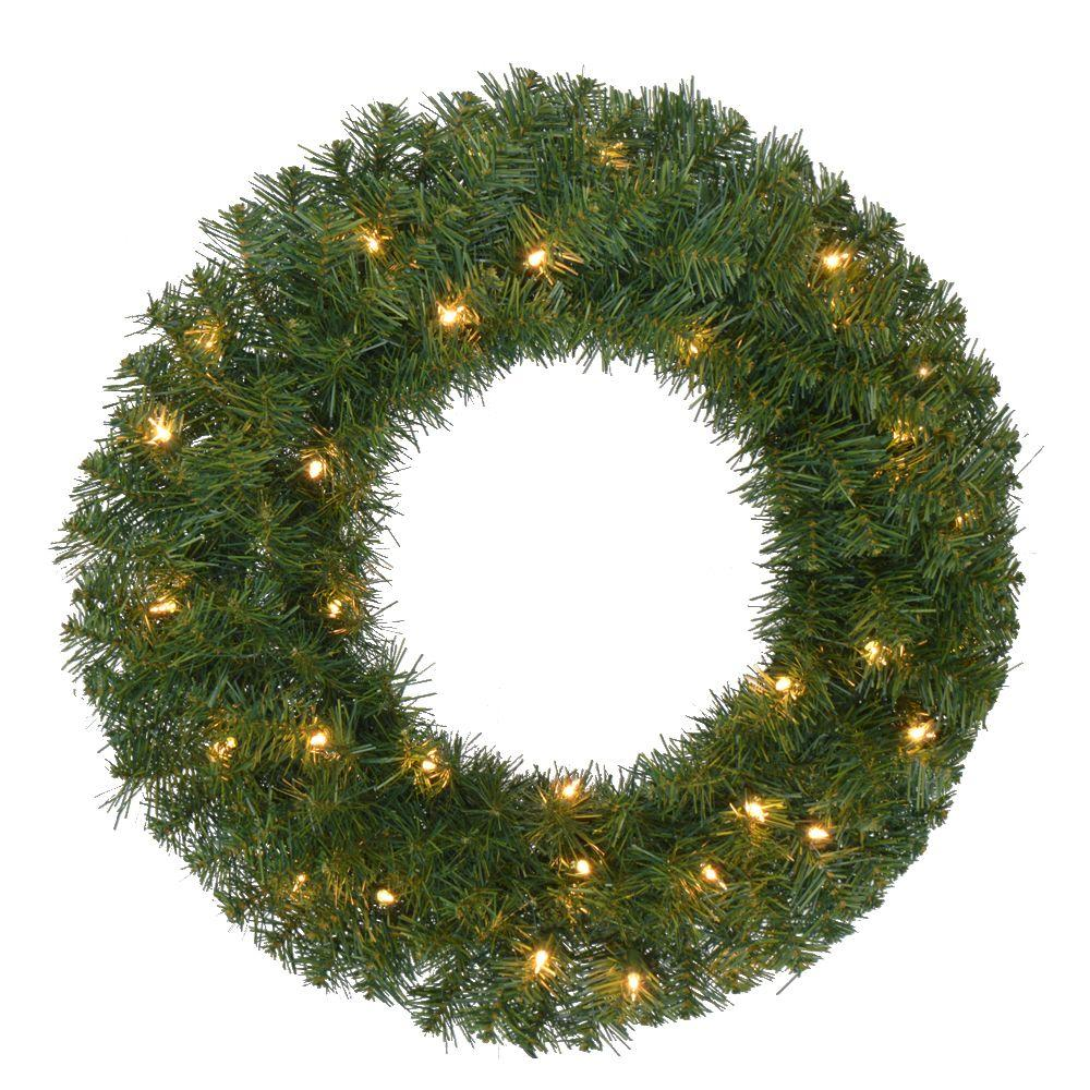 home accents holiday 24 in pre lit noble fir artificial christmas wreath with 35 - Christmas Wreaths With Lights