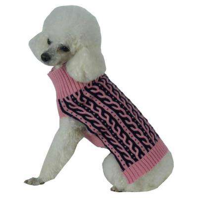 Medium Pink and Navy Blue Harmonious Dual Color Weaved Heavy Cable Knitted Fashion Designer Dog Sweater