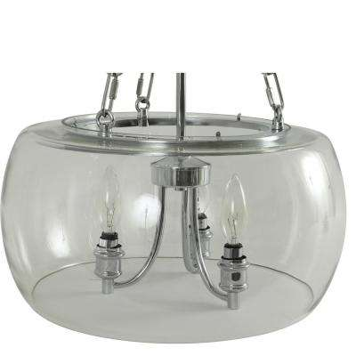 Middagh 3-Light Brushed Nickel Glass Pendant