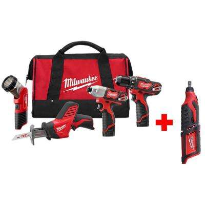M12 12-Volt Lithium-Ion Cordless Combo Tool Kit (4-Tool) with Free M12 Rotary Tool