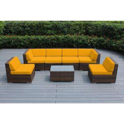 Mixed Brown 7-Piece Wicker Patio Seating Set with Sunbrella Sunflower Yellow Cushions