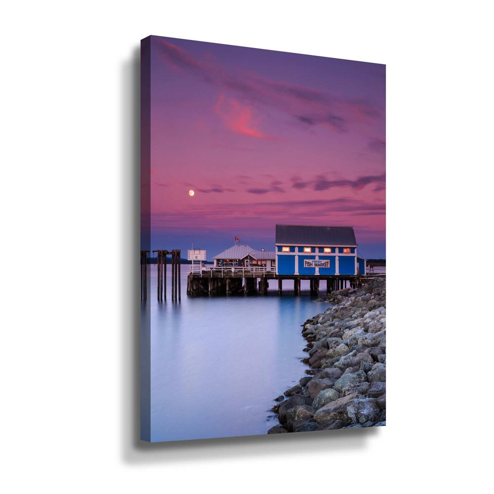 ArtWall Moon over Sidney fish market' by Shawn & Corinne severn Canvas Wall Art, Purple This beautiful gallery wrapped canvas art is the perfect piece of wall decor for that bare wall. Display this gorgeous wall art decor in the living area with some brushed nickel sconces. Hang this artwork in the dining area for a wonderful conversation piece. Color: Purple.