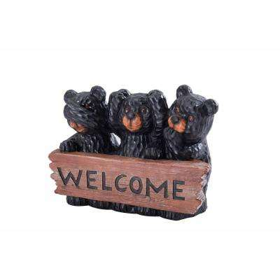 Bears with Welcome Sign Garden Statue