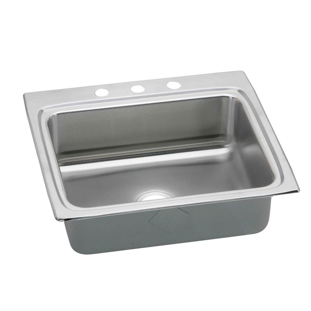 Lustertone Perfect Drain Drop-In Stainless Steel 25 in. 1-Hole Single Bowl