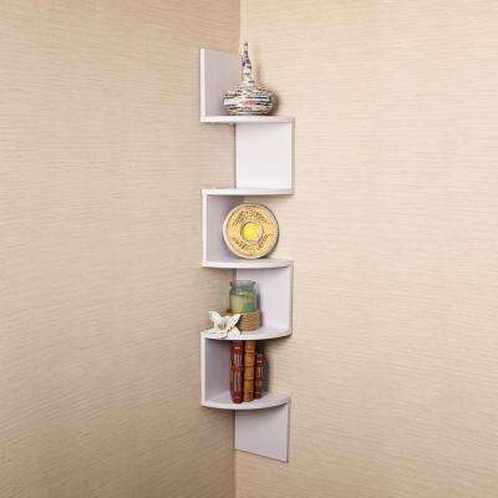 Zig Zag 7.75 in. W x 7.75 in. D Floating Laminate Corner Wall Decorative Shelf in White Finish