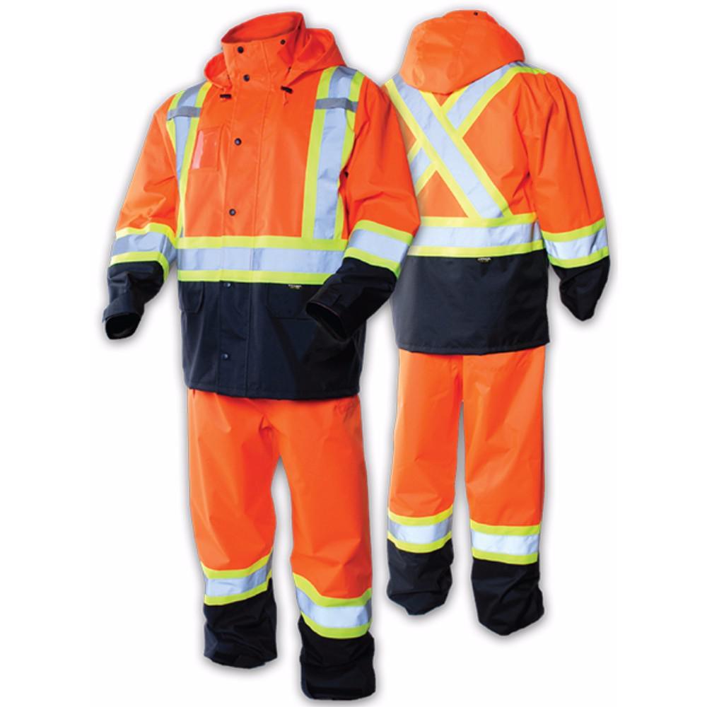 Men's Large Orange High-Visibility Reflective Safety Rain Suit