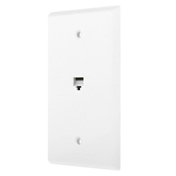 White 1-Gang Data Jack Wall Plate (1-Pack)