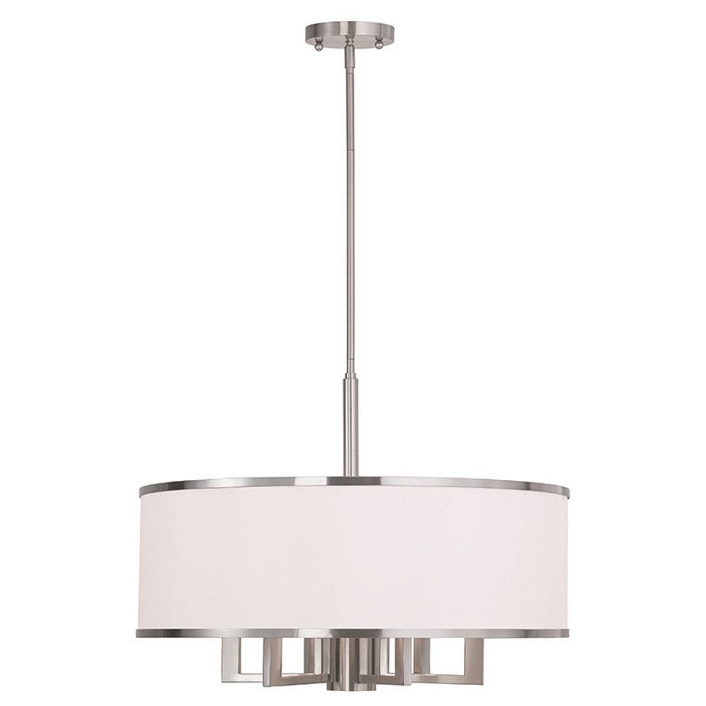 Livex Lighting Park 7 Light Brushed Nickel Chandelier With Hand Crafted Off White Fabric Hardback Shade