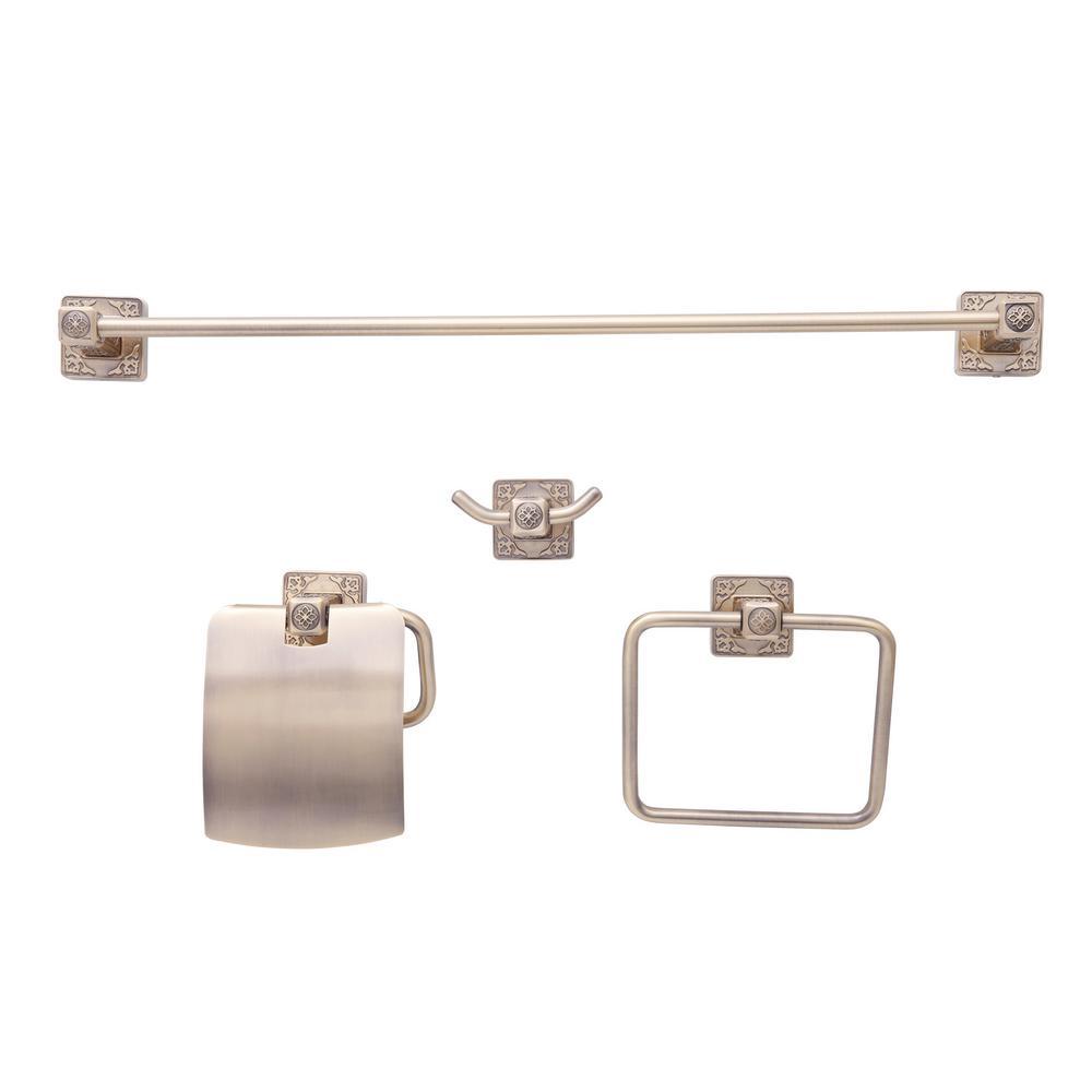 Reno Series Euro 4-Piece Bath Hardware Set in Brass