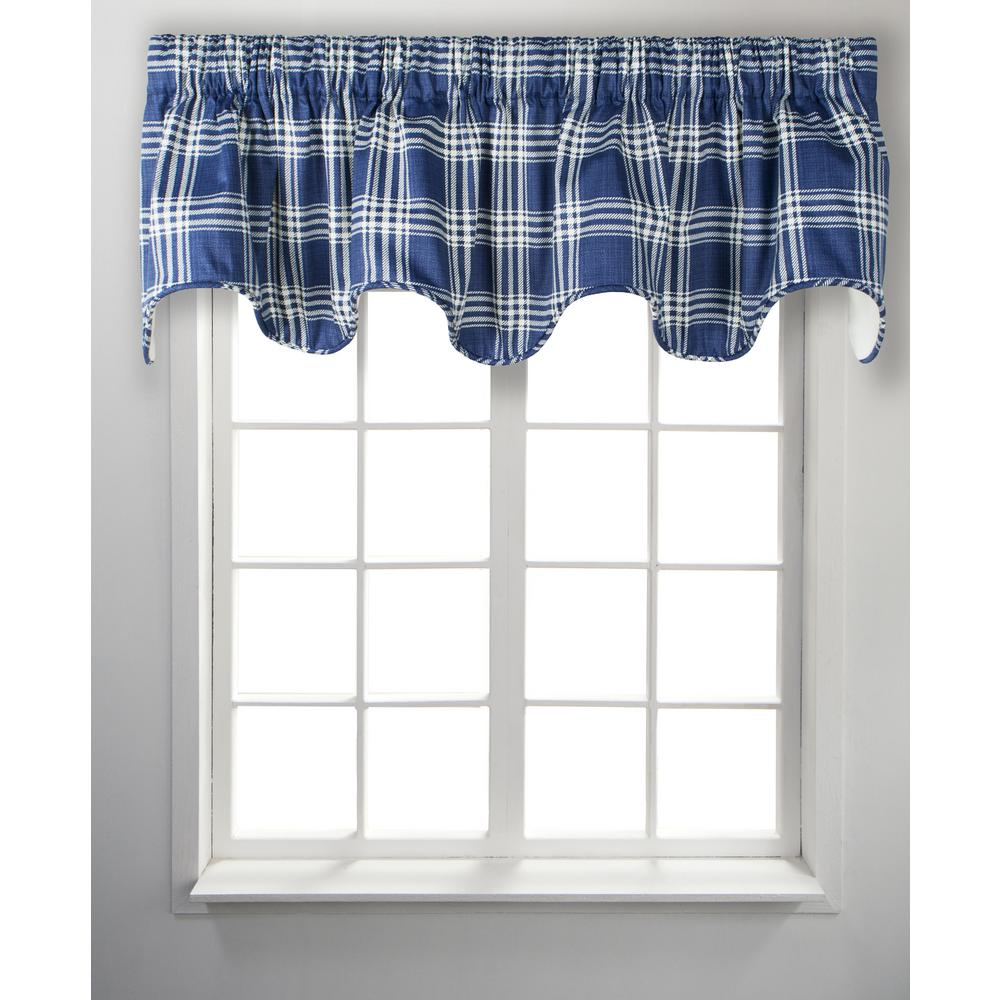 Ellis Curtain Bartlett 17 In L Cotton Lined Scallop Valance In Blue