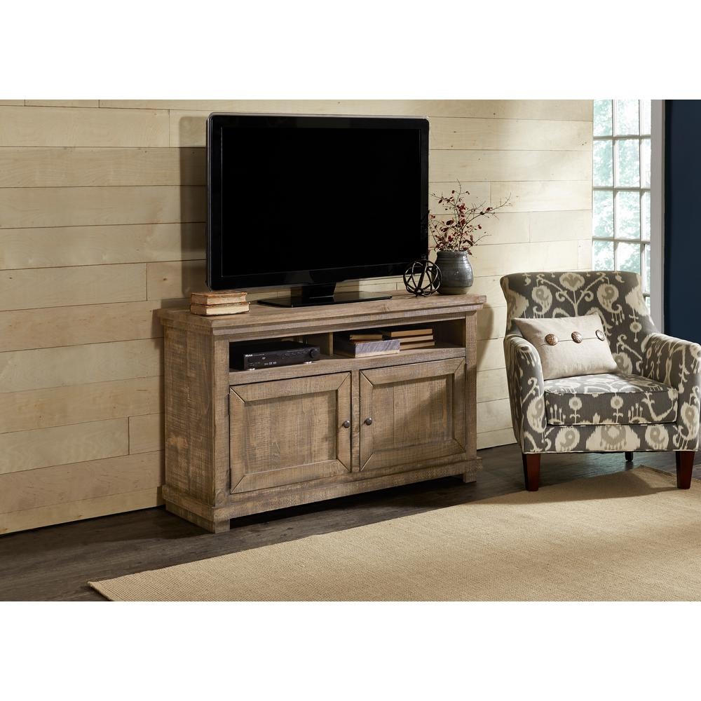 Willow 54 in. Weathered Gray Wood TV Stand Fits TVs Up to 60 in. with Storage Doors