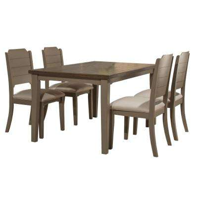Clarion 5-Piece Rectangular Distressed Gray Dining Set with Side Chairs