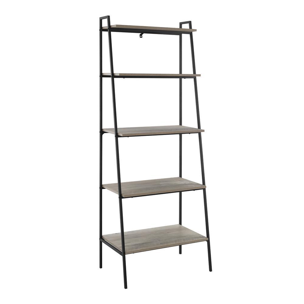 72 in. Grey Wash Metal and Wood Ladder Shelf