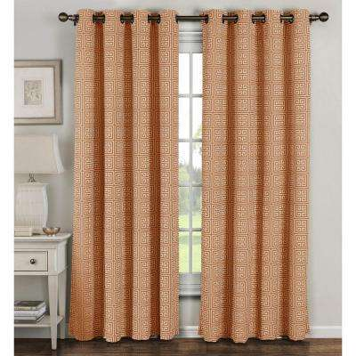 Semi-Opaque Greek Key Cotton Blend Extra Wide 84 in. L Grommet Curtain Panel Pair, Rust (Set of 2)