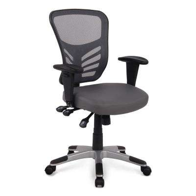 Brighton Gray Office Chair with Vegan Leather Seat