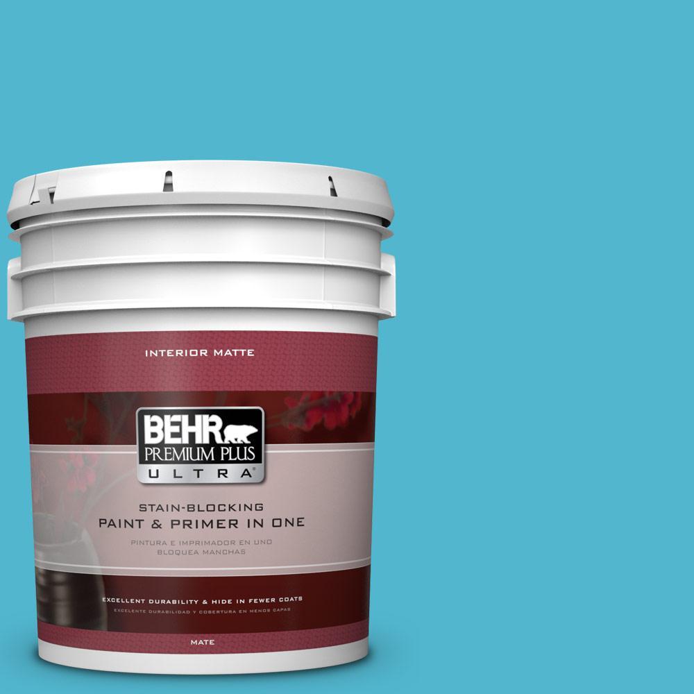 BEHR Premium Plus Ultra 5 gal. #520B-5 Liquid Blue Flat/Matte Interior Paint