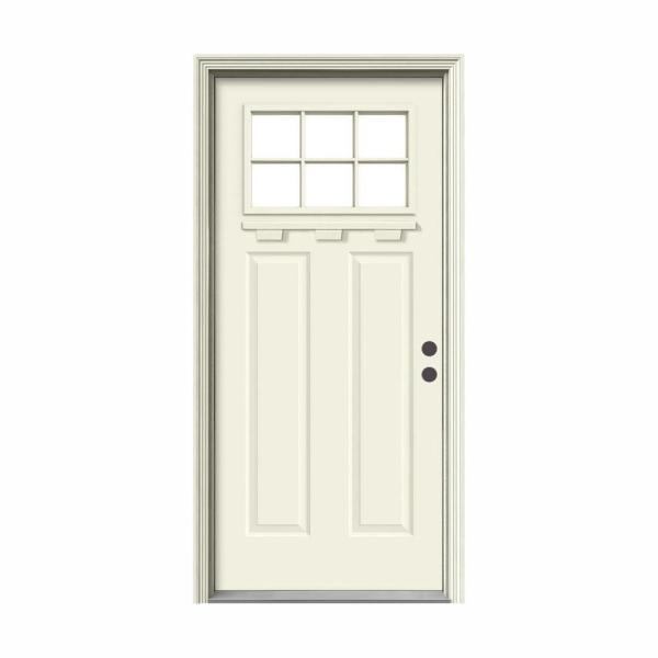 '' 36 in. x 80 in. 6 Lite Craftsman Vanilla Painted Steel Prehung Left-Hand Inswing Front Door w/Brickmould and Shelf''