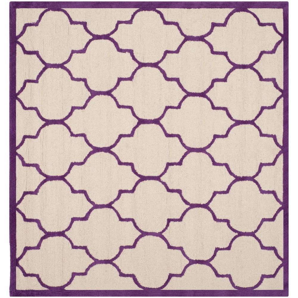 Safavieh Cambridge Ivory/Purple 6 ft. x 6 ft. Square Area Rug