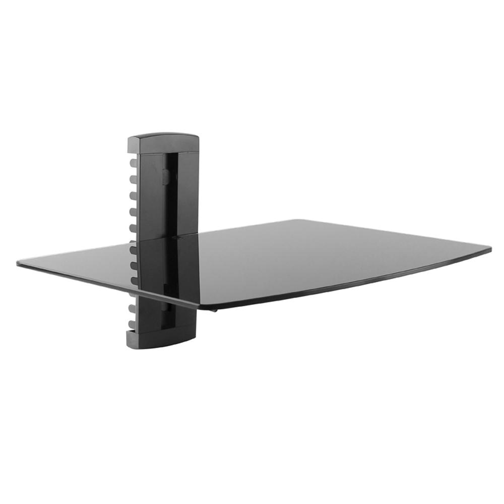 Commercial Electric Wall Mount Component Shelf, Black The Universal Component Shelf wall mount can be individually mounted under or above any TV. It can hold most audio-video components like DVDs, cable box and AV systems. It features an integrated cable management system to help ensure an organized look. Color: Black.
