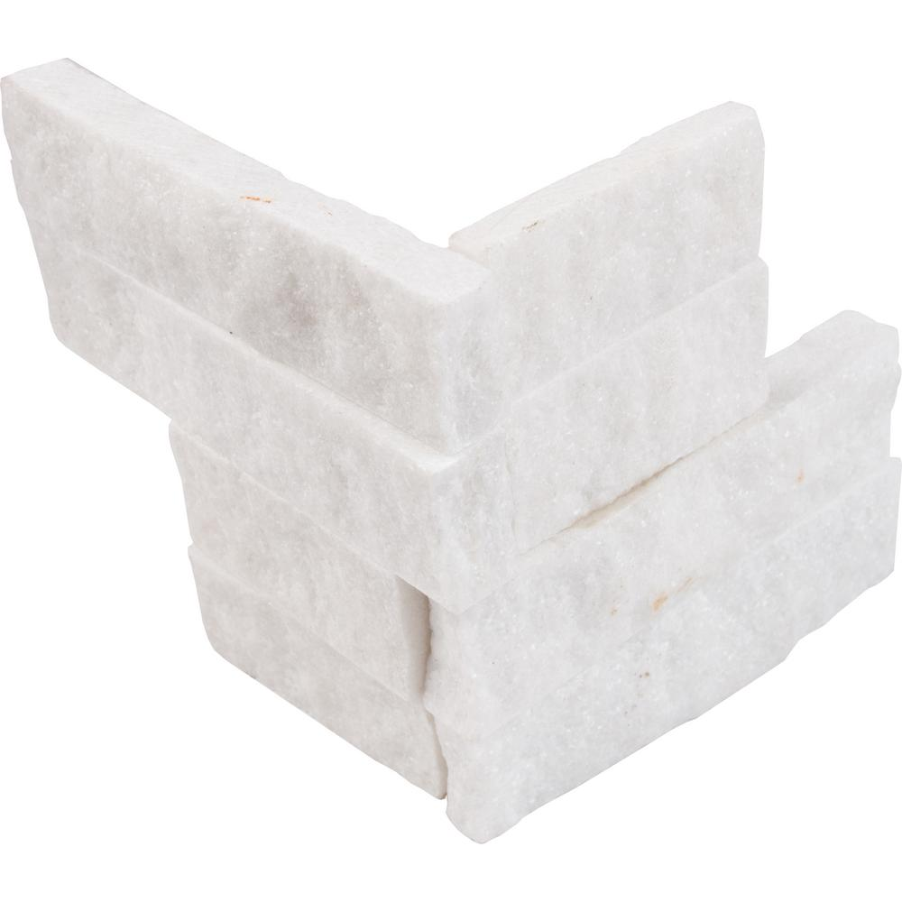MSI Arctic White Ledger Corner 6 in. x 6 in. Natural Marble Wall Tile (2 sq. ft. / case)
