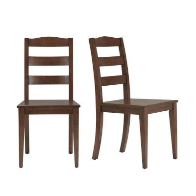 StyleWell Walnut Finish Dining Chair with Ladder Back (Set of 2) (17.72 in. W x 36.77 in. H)