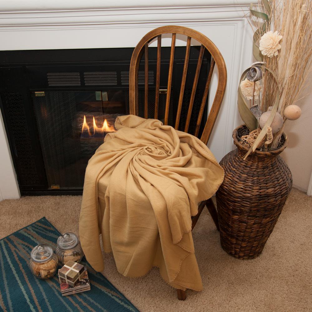 50 in. x 60 in. Tan Super Soft Fleece Throw Blanket (Set of 24)