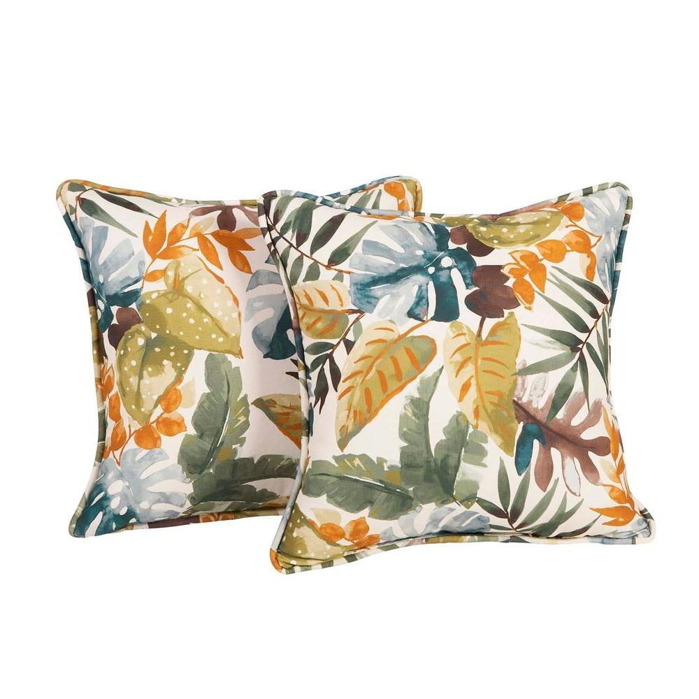 hampton bay clairborne outdoor throw pillow 2 pack clatp 2pk the home depot. Black Bedroom Furniture Sets. Home Design Ideas