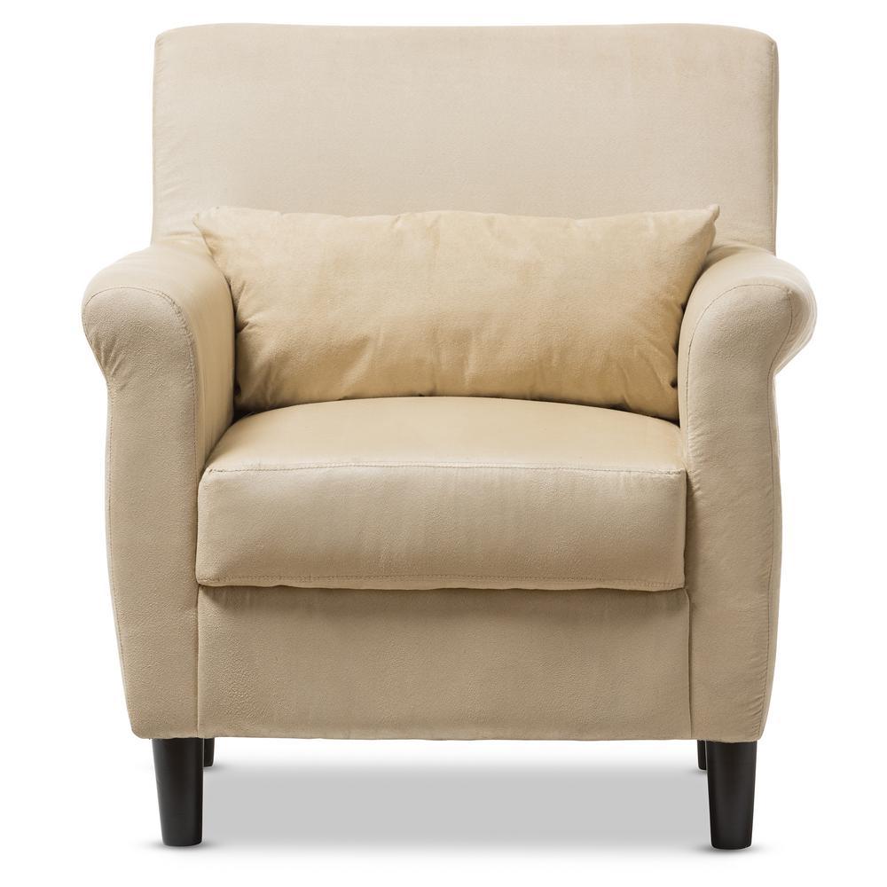 Baxton Studio Marquis Tan Microfiber Club Arm Chair