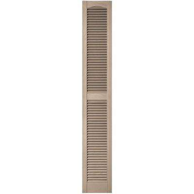 12 in. x 75 in. Louvered Vinyl Exterior Shutters Pair in #023 Wicker