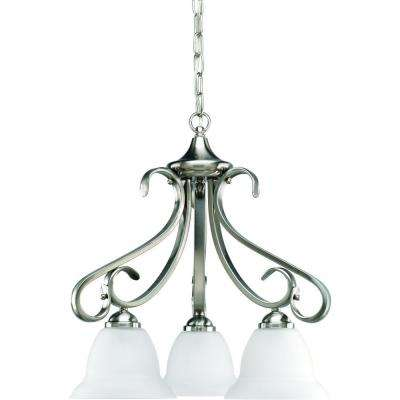Torino Collection 3-Light Brushed Nickel Chandelier with Etched Glass