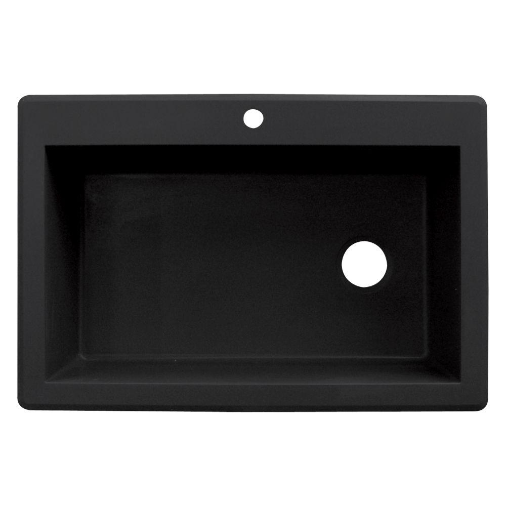 White Single Bowl Drop In Kitchen Sink Part - 26: Transolid Radius Drop-in Granite 33 In. 1-Hole Single Bowl Kitchen Sink In  Black-RTSS3322-09 - The Home Depot