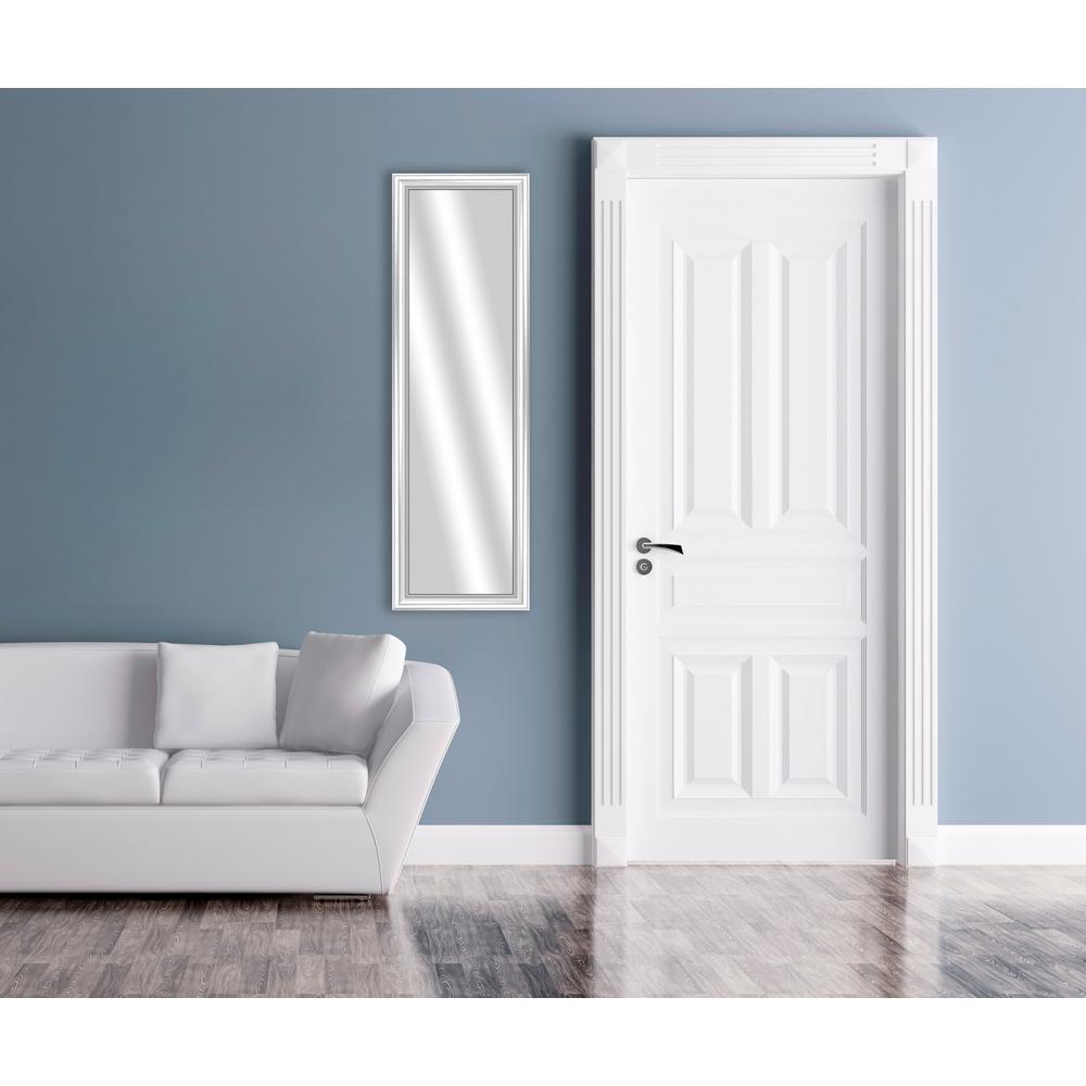 15.875 in. x 51.875 in. White Framed Mirror