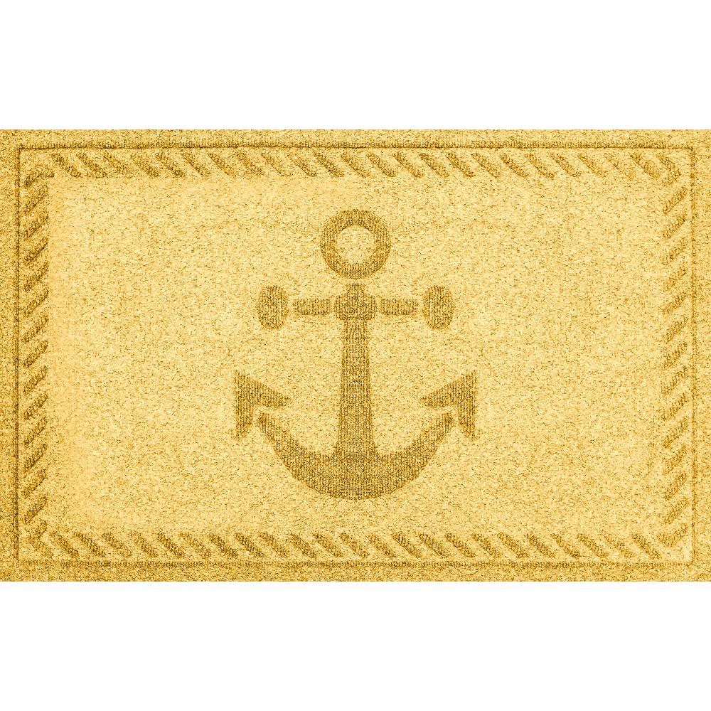 Aqua Shield Yellow 24 in. x 36 in. Ships Anchor Polypropylene Door Mat