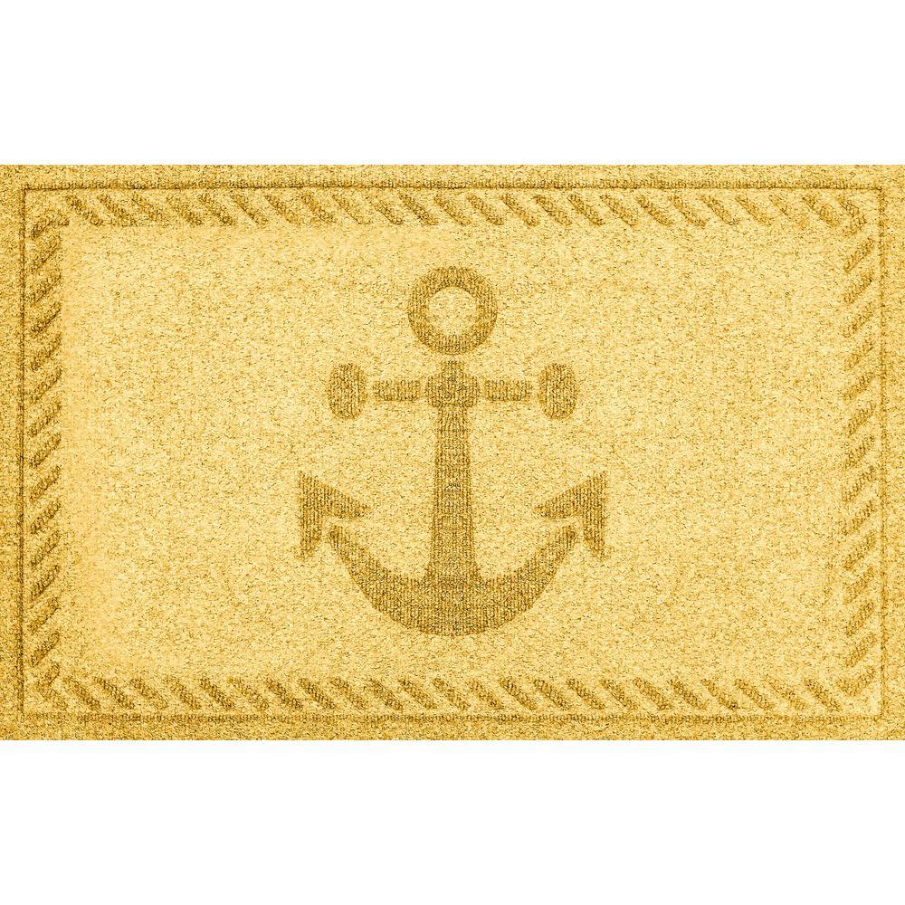 Yellow 24 in. x 36 in. Ships Anchor Polypropylene Door Mat