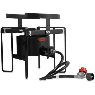 50,000 BTU 20 PSI Outdoor Camping Turkey Fryer Cooker Stove with Adjustable Regulator (14 in. Dia Cooking Surface)