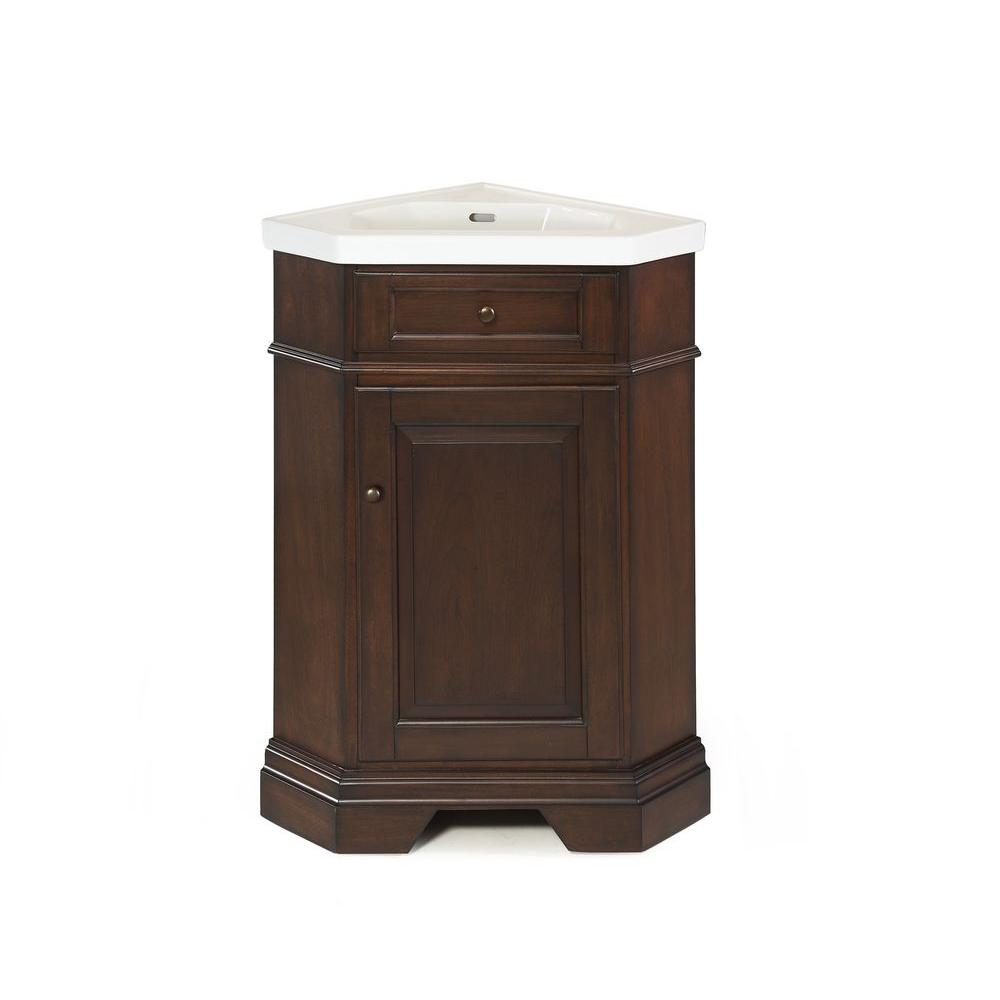 Hembry Creek Richmond 26 in. Vanity in Mahogany with Vitreous China Vanity Top in White with White Basin