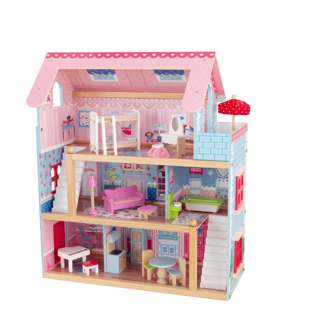 Chelsea Doll Cottage Play Set Wood Dollhouse Furniture Children Pink Fashion