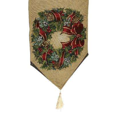70 in. L x 13 in. W Christmas Wreath Polyester-Cotton Table Runner