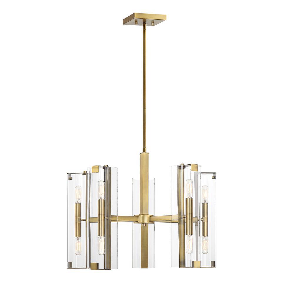 10-Light Warm Brass Chandelier