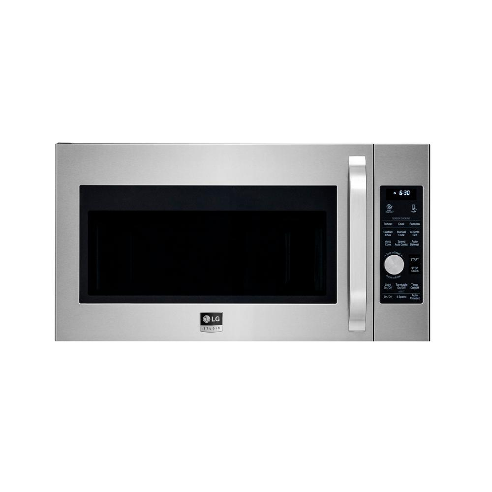 Lg Studio 1 7 Cu Ft Over The Range Convection Microwave In Stainless Steel With