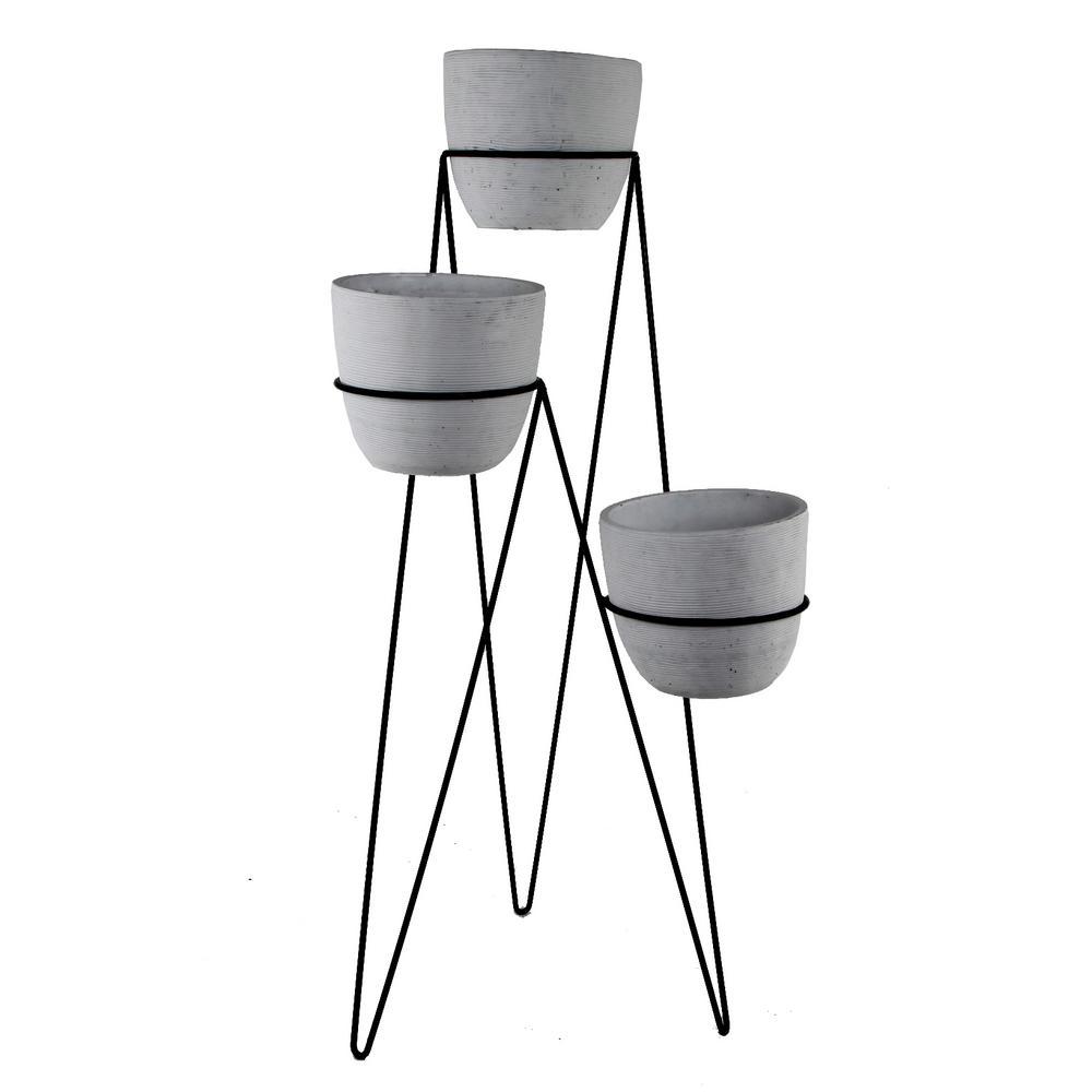 36 in. H 7 in. Gray Concrete 3-Tier Lava Cement Plant Pot Sets