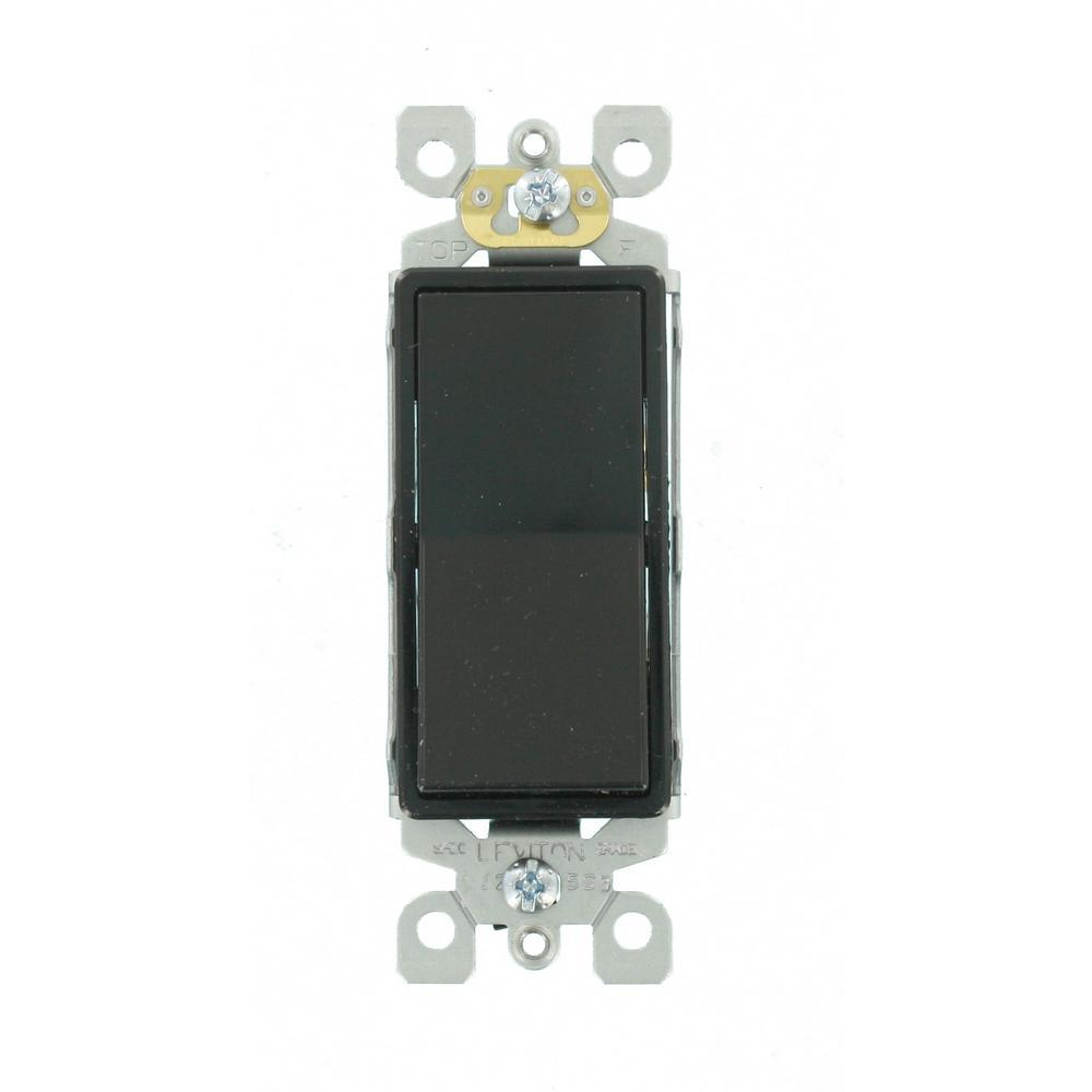 Decora 15 Amp Single-Pole AC Quiet Switch, Black