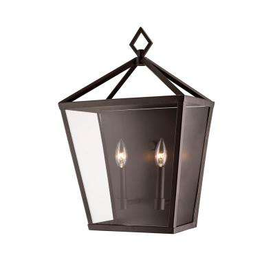 2-Light 20 in. Tall Powder Coated Bronze Outdoor Wall Lantern Sconce