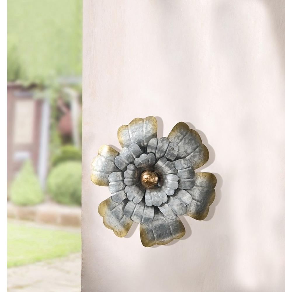 14.2 in. Round Rustic Silver Flower Metal Wall Art
