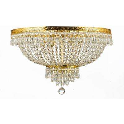 French Empire 24 in. 9-Light Clear/Gold Flush Mount Trimmed with Swarovski Crystal
