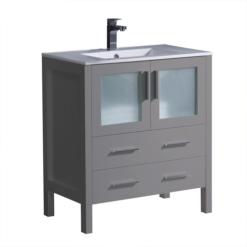 Torino 30 in. Bath Vanity in Gray with Ceramic Vanity Top in White with White Basin