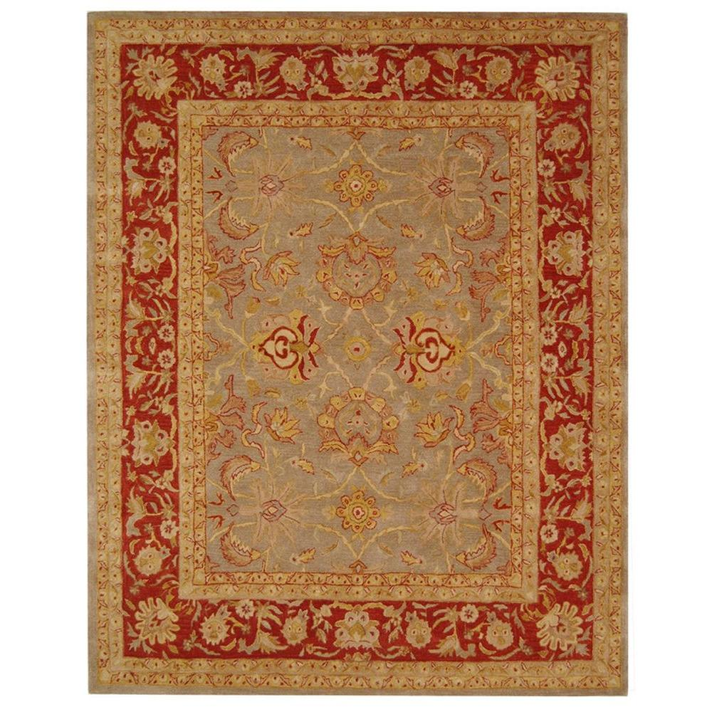 safavieh anatolia grey red 8 ft x 10 ft area rug an529a 8 the home depot. Black Bedroom Furniture Sets. Home Design Ideas