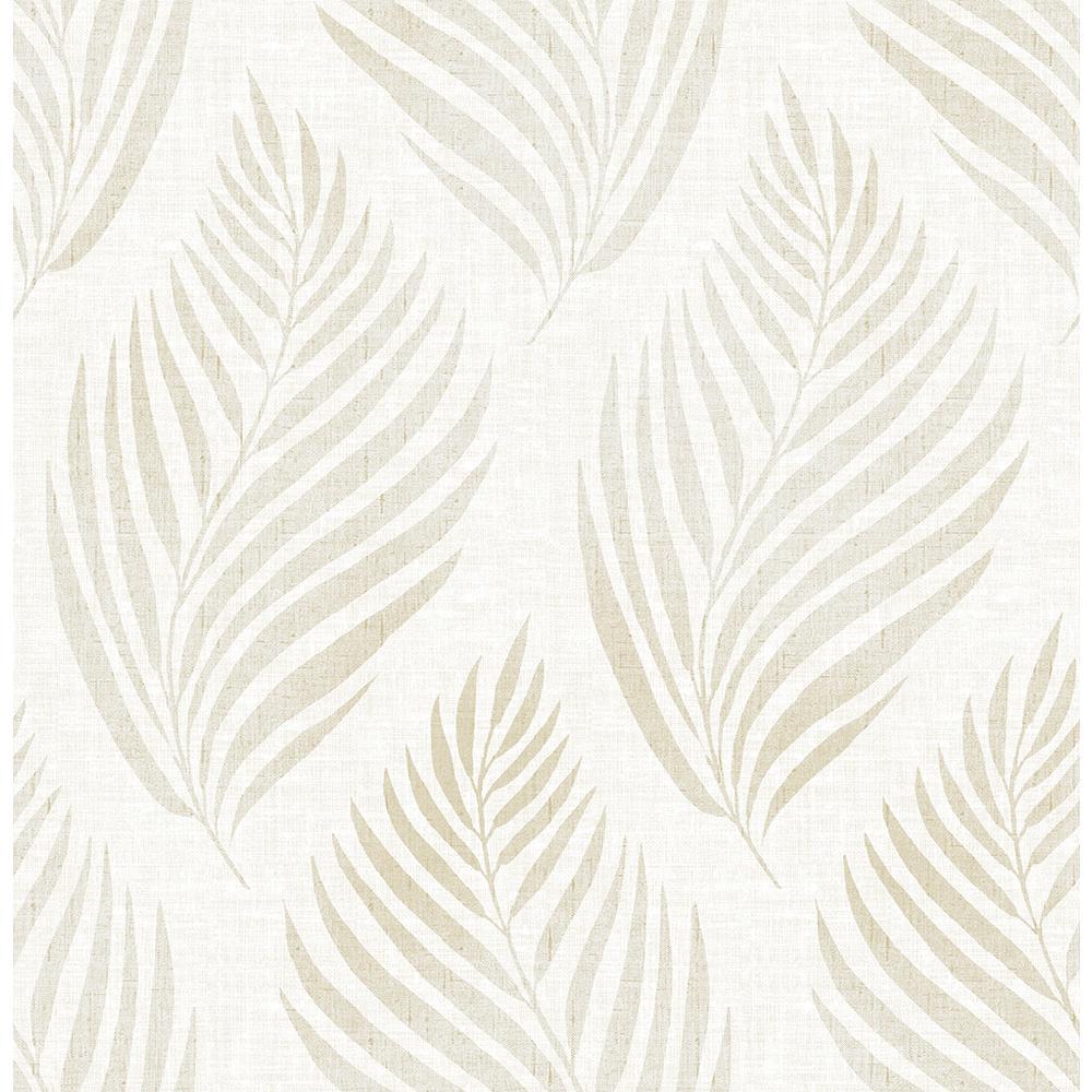Patrice Beige Linen Leaf Beige Wallpaper Sample