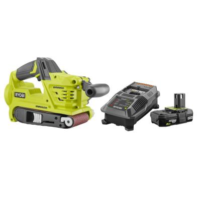 ONE+ 18V Cordless Brushless 3 in x 18 in Belt Sander w/ Dust Bag & Sanding Belt with 2.0 Ah Battery and Charger Kit