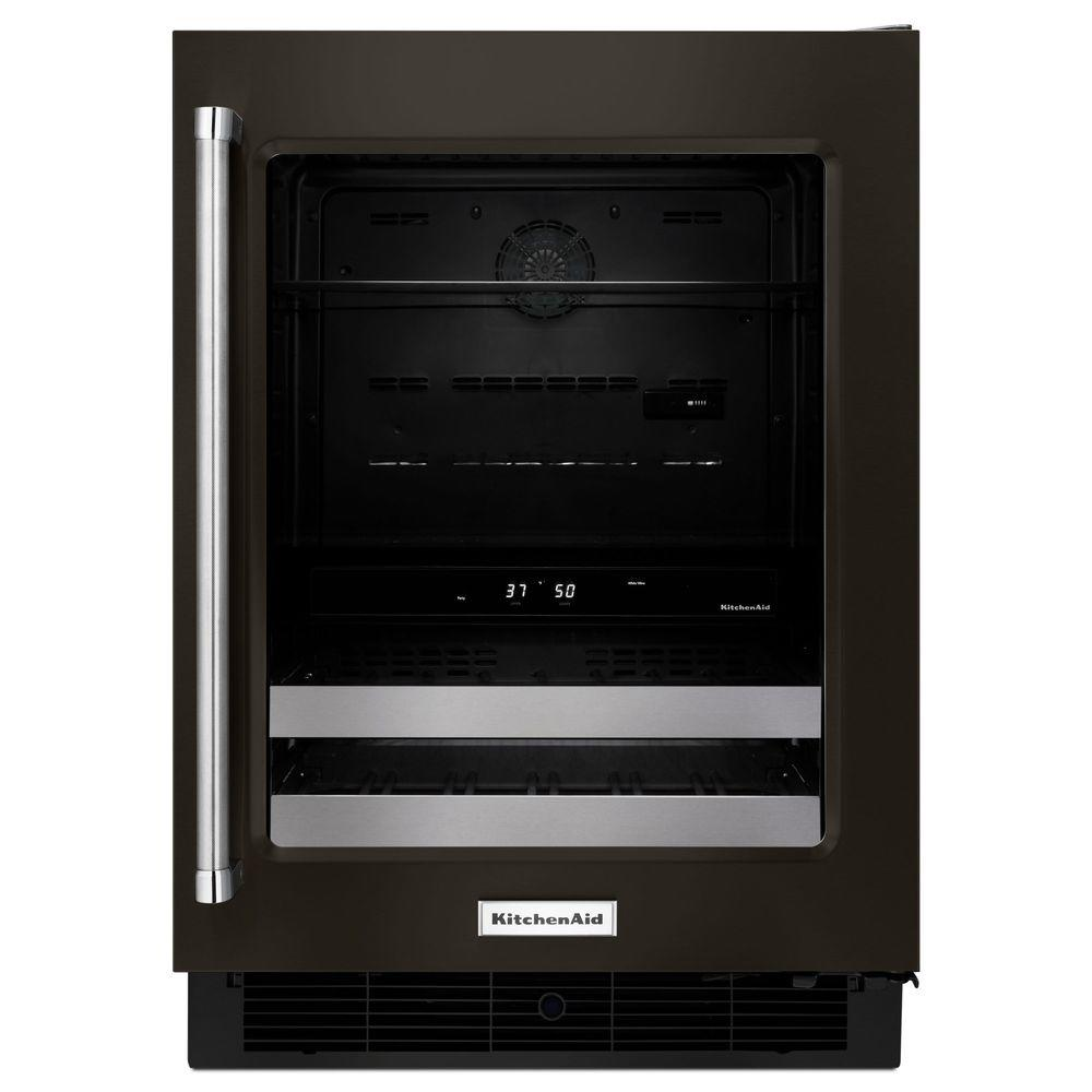KitchenAid 24 in. W 4.8 cu. ft. Dual Zone 14-Bottle Wine Cooler, Black-On-Stainless